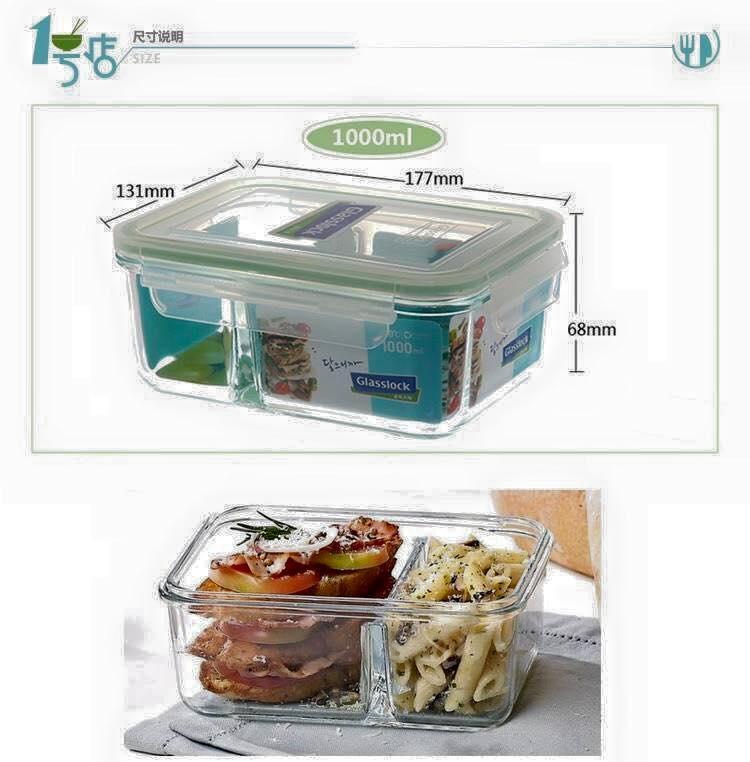 Hộp thủy tinh đựng thực phẩm 2 ngăn Glasslock MCRK-1000 1000ml