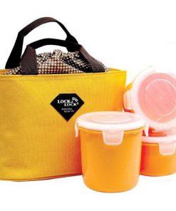 Bộ 3 hộp đựng cơm và túi giữ nhiệt Lock&lock Round Lunch HAF100