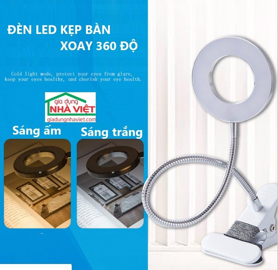 Đèn LED kẹp bàn ánh sáng 2 màu xoay 360 độ MT08 - Gia Dụng Nhà Việt